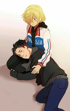 Yurio, Otabek, sleeping, blushing, cute, yaoi; Yuri!!! on Ice