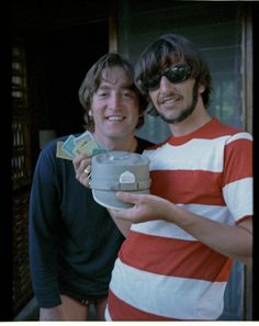 """We were on holiday here,"" says Ringo of this photo of him and John, taken sometime around 1966....We were playing Monopoly here, and it looks like I won!' Photo courtesy of Ringo Starr."