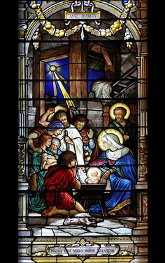 Beautiful nativity stained glass window from Notre-Dame de Grâce church, Montreal, Québec.