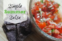 Simple Summer Salsa Recipe. Sans the tortilla chips for PALEO. Can be used as a dressing, crockpot chicken, and more. Follow the picture (not your typical set of directions where everything is listed). Lime juice, tomatoes, onion, cilantro...Maybe even add avocado, jalepeño, and habañero peppers!