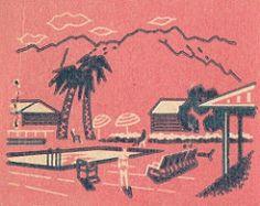Deep Well Inn, Palm Springs matchbook cover 2 - pool (hmdavid) Tags: california art pool lady illustration vintage inn palmsprings matchbook midcentury deepwell matchcover