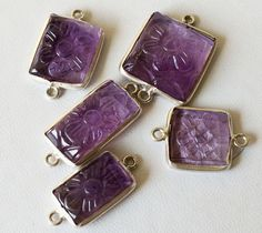 5 Pcs Amethyst Hand Carved Floral Connectors by gemsforjewels