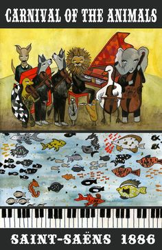 Carnival of the Animals Poster- we're playing this in Youth Symphony! Preschool Music, Teaching Music, Book Illustration, Graphic Design Illustration, Illustrations, Music Education Activities, Carnival Of The Animals, Music Drawings, Music Is My Escape