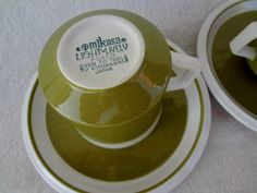 Vintage Mikasa Light 'N Lively Green Cups and by AlayRayVintage