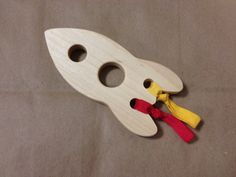 Wood Rocket Wooden Teether Natural Baby Toy via Etsy