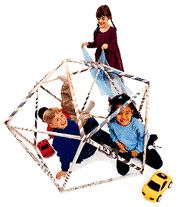 geodesic-dome - 100 sheets of newspaper (4sheets rolled together diagonally to make 25 separate paper rolls) + stapler + instructions (http://familyfun.go.com/crafts/geodesic-dome-709386/)
