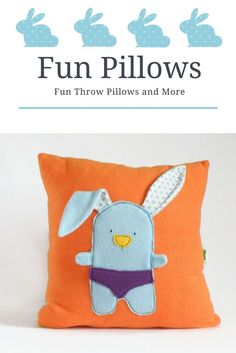 Nursery Room Pillow Cover, Nursery Fun Decorative Pillow Cover, Bunny Orange Throw Pillow, Baby / Kids cushion Room Decor, Baby shower gift, Easter Bunny, Easter Gift, Easter basket