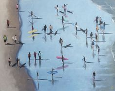 Buy At The Berg by Alex Marmarellis, a stunning painting on canvas of Cape Town surfers, size 92 x 74 cm framed. Beach Scenes, Cape Town, South Africa, Surfing, Paintings, Bird, Canvas, Gallery, Artist