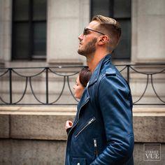 Blue is the new black.  @streetvues | streetvue.co  #newyork #nyfw #ss16 #menswear #fashion #mensfashion #menstyle  #street #style #streetstyle #nofilter #leatherjacket #motorcyclejacket #blueleather