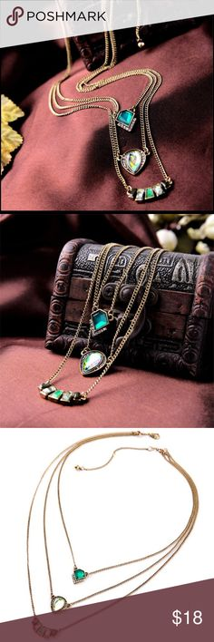 Multi Layer Necklace New Design Vintage Exquisite Acrylic  Geometric Green Gem. Layered necklace, three in one❗️   BUNDLE with the rings to get a better price ! #sale #fashion Jewelry Necklaces