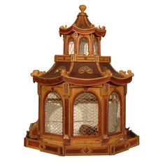 Dutch chinoiserie pagoda top birdcage  Holland  circa mid 19th century