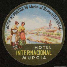 [Etiquetas de hoteles de Murcia]. Dibujos, grabados y fotografías — 1930-1960 Murcia, Spain, Books, Vintage Posters, Hotels, Tags, City, Antigua, Drawings