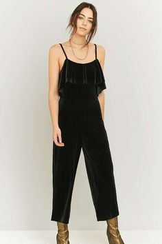 Pins & Needles Velvet Frill Jumpsuit - Urban Outfitters