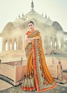For a stunning and sophisticated look, opt for this traditional mustard color fancy fabric cut paste work party wear saree. Pair this beautiful saree with the matching jewelry and classy clutch. Party Wear Sarees Online, Party Sarees, Buy Designer Sarees Online, Latest Designer Sarees, Sari Shop, Simple Sarees, Indian Sarees Online, Art Silk Sarees, Saree Wedding