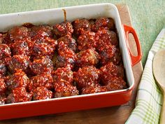 Comfort Meatballs : It's all about the balance of sweet and savory in these potluck-ready meatballs, as the sauce in which they're baked boasts ketchup, a splash of vinegar and a pinch of sugar. For a subtle hint of spice, Ree adds just a dash of hot sauce.