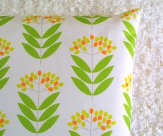 Green Elderberry cushion cover by ThirtyfiveFlowers on Etsy, £18.00