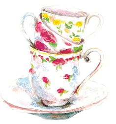 teacups   Teacups which make up one of the artworks for a greeting card within ...