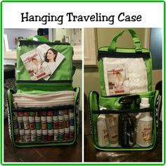 Hanging Traveling Case holding Young Living Essential Oil supplies, Hanging Traveling Case, Thirty-One, Thirty One, Young Living Essential Oils, YLEO, Essential Oils, Thieves Mouthwash, Thieves Cleaner, Thieves Toothpaste, www.mythirtyone.com/bisconti, www.facebook.com/groups/VIP31Bisconti/, Kelly Bisconti