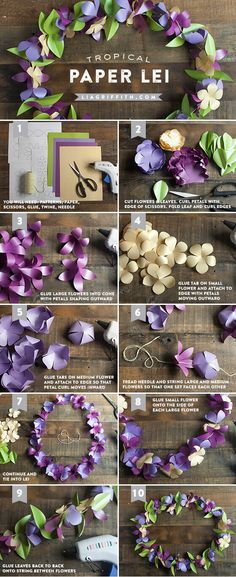 Make a Tropical Paper Flower Lei If you are planning a Luau or tropical party this summer, what a better way to add a splash of color than give each guest a handmade paper lei. Paper Flowers Diy, Handmade Flowers, Flower Crafts, Diy Paper, Fabric Flowers, Paper Art, Paper Crafts, Craft Flowers, Paper Poms