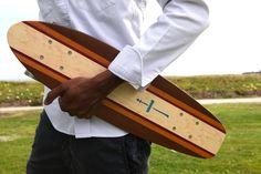 ArteMare's L'Americano skateboard in maple, mahogany, walnut and purple heart woods.