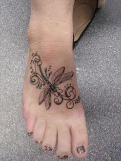 Dragonfly foot tattoo Design Idea - Tattoo Design Ideas
