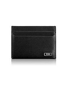 Tumi Monaco Textured Leather Card Case - Black