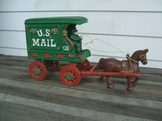 Mail Delivery, Horse Drawn, Wheelbarrow, Country Living, Vintage Toys, Cast Iron, Horses, Antiques, Country Life