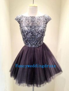 Custom Strap Charming Gray Tulle Beading Cap Sleeves Knee-length Short Dress Prom Dress Bridesmaid Dress Evening Dress Formal Dress