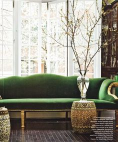cupboard, green velvet sofa