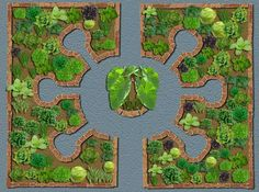 """Keyhole gardens are supposed to be the best use of small space. Backyard inspiration - make it seem like a large space by creating a lot of """"rooms."""""""