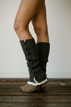 Knitted Button Leg Warmers with Crochet Lace Trim Wooden Buttons for Stocking Stuffers in Dark Gray (LW-GRAYBU)