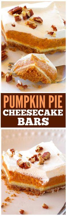 Pumpkin Pie Cheesecake Bars Pumpkin Pie Cheesecake Bars – A thick layer of graham cracker crust, creamy cheesecake, and spice pumpkin pie flavored filling. the-girl-who-ate-… Pumpkin Pie Cheesecake, Cheesecake Bars, Cheesecake Recipes, Dessert Recipes, Yummy Treats, Delicious Desserts, Sweet Treats, Yummy Food, Fun Food