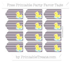 Dark Purple Horizontal Striped  Baby Duck Party Favor Tags