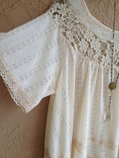 Reserved for Carla Romanric lace trim bohemian cotton sweater style blouse with crochet details