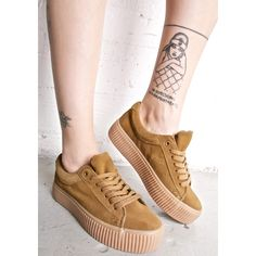 Desperado Creeper Sneaker ($38) ❤ liked on Polyvore featuring shoes, sneakers, brown sneakers, laced shoes, lacing sneakers, coolway shoes and tan lace up shoes