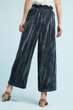 Slide View: 3: Wide-Leg Velvet Pants