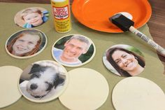 Decoupage photos onto wood discs