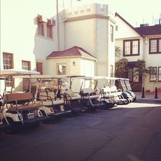 Golf carts are used to get around the 65 acre studio lot.  Each building and/or dept. was assigned golf carts.  I loved driving round the lot on them.