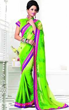 Picture of Beautiful Blue Color Designer Chiffon Saree Online