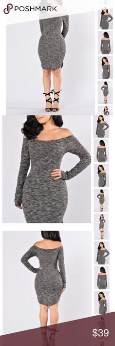 ✨NEW LIST✨ Blow Some Kisses Rounded Hem Dress New in package rounded hem, ribbed,  off the shoulder dress. Marled type fabric meaning that the color is a gray, white, and black mix. Comfy with some stretch, best for a size small. Dresses Long Sleeve