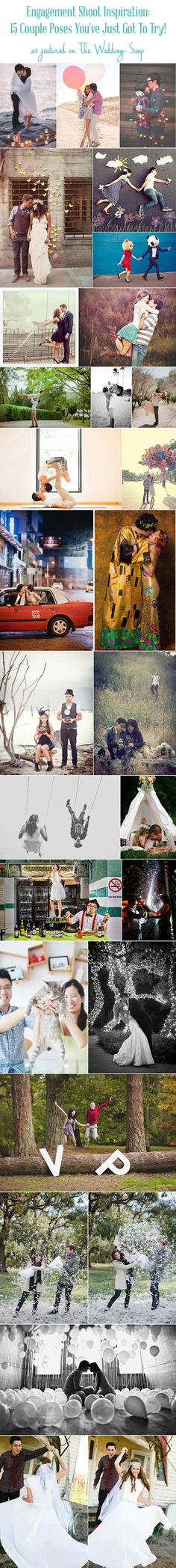 15 couple poses you've just got to try! If you're thinking about having an engagement session and are not sure what to do or how best to pose, then you can take some cues from these couples and their photographers for images that win on so many levels! http://www.theweddingscoop.com/entry/engagement-shoot-inspiration-15-couple-poses-you-ve-just-got-to-try #engaged #engagement