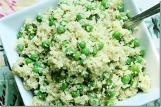 Raw and vegan fast food: parsnip rice with spring peas, basil, and hemp seeds