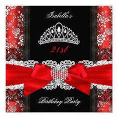 Damask Rose Red Black White Tiara Birthday Party Personalized Invitation