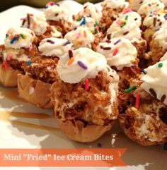 """Mexican class--Mini """"Fried"""" Ice Cream Bites - Your favorite mexican dessert is now fun-size! Much easier than making real fried ice cream and still just as good! Ice Cream Desserts, Frozen Desserts, Ice Cream Recipes, Frozen Treats, Just Desserts, Delicious Desserts, Yummy Food, Mexican Food Recipes, Dessert Recipes"""