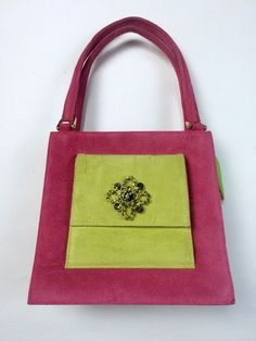 RARE! Nina Perry Pink Lime Green Suede Leather Handbag Purse Tote Rhinestone Bag #NinaPerry #Handbag