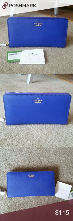 """KATE SPADE Cameron Street Lacey Wallet NWT! In Nightlife Blue.💙💙 Rich crosshatched leather and logo hardware heighten the sophisticated style of a streamlined zip-around wallet 💙💙 *Zip-around closure. *Exterior slip pocket. *Interior zip, wall and currency pockets; 12 card slots. *Signature bookstripe lining. *Leather. *7.5"""" W x 4""""H x 1""""D. kate spade Bags Wallets"""
