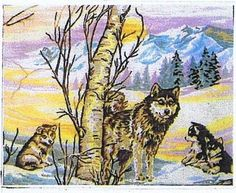 """Wolf And Cubs Tapestry Canvas - Gobelin - 15.75"""" x 12.5"""""""