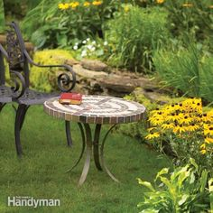 DIY:Build an Outdoor Table With Tile Top and Steel Base ~~~ Construct a small, round patio table with a tiled plywood and cement board top and hand-bent metal legs. Mosaic Outdoor Table, Diy Outdoor Table, Patio Table, Diy Patio, A Table, Outdoor Furniture, Outdoor Decor, Outdoor Living, Garden Table
