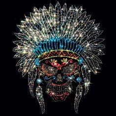 Rhinestone Sugar Skull Shirt/ Native American Headdress Skull Dia De Los Muertos Sugar Skull Women's Shirt/ Indian Day Of The Dead T-Shirt Rhinestone Tshirts, Rhinestone Art, Rhinestone Transfers, Sugar Skull Shirt, Skull Shirts, Sugar Skulls, Native American Headdress, Native American Art, Bullet Art
