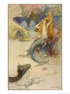 Mermaid Combing Her Hair Giclee Print by Warwick Goble at Art.com